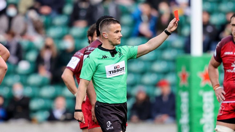 Referee Luke Pearce presents a red card after a TMO review into Levani Botia's high tackle