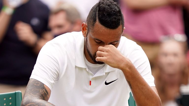 Nick Kyrgios retired from his match with Felix Auger-Aliassime due to an abdominal injury