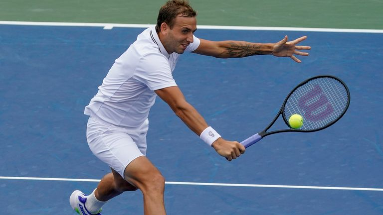 Dan Evans maintained British hopes in the men's draw at the US Open with a four-set win over Marcos Giron to reach the last 32 (AP Photo/John Minchillo)