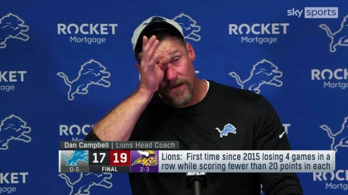 Detroit Lions head coach Dan Campbell was emotional during his post-game press conference after his team were narrowly beaten by the Minnesota Vikings.