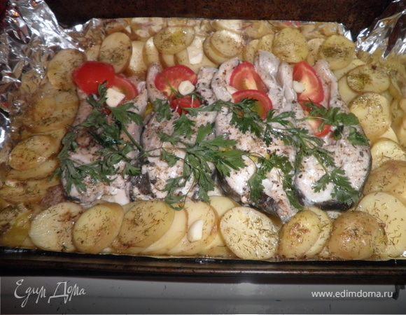 Толстолоб запеченный с картофелем Ингредиенты помидоры