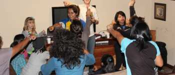Bible charades with girls from Fundaninos at youth group in our home