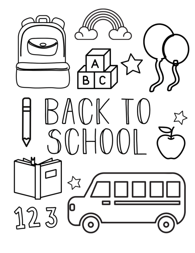 Free back to school coloring pages for preschool kids