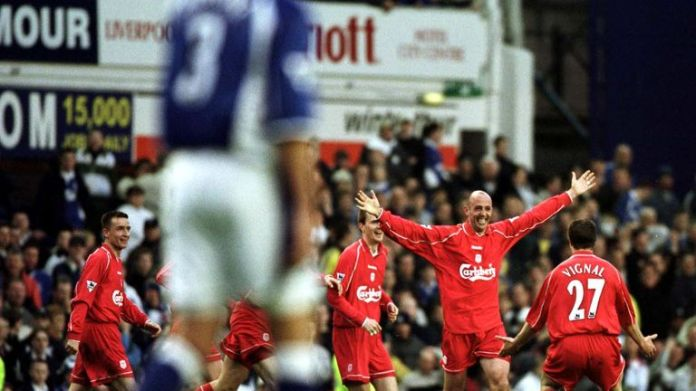 16 Apr 2001: Gary McAllister of Liverpool celebrates after scoring the winning goal against Everton's Premier League match at Goodison Park