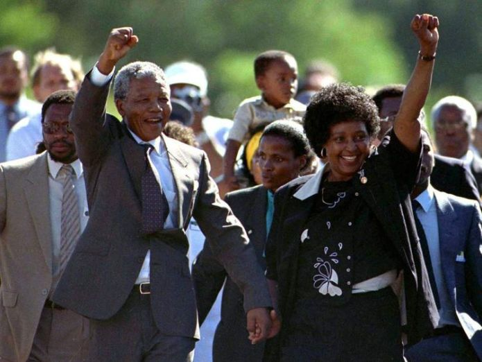 NELSON MANDELA IS RELEASED FROM PRISON FILE PHOTO.