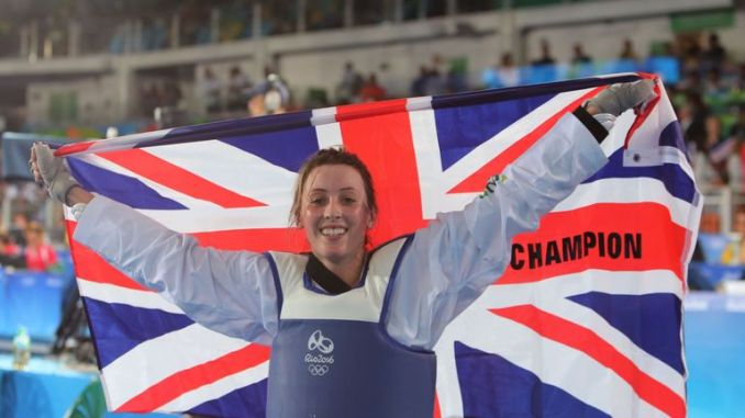 Jade Jones celebrates winning gold