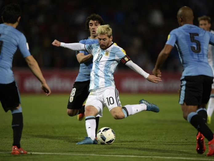 Argentina's Lionel Messi shoots to score against Uruguay during the FIFA World Cup 2018 qualifier football match between Argentina and Uruguay in Mendoza,  Everything you need to know about this summer's football tournament in Russia Everything you need to know about this summer's football tournament in Russia lionel messi argentina 3777349