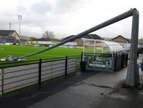Hurricane-force winds brought two floodlights and fencing down  at Aberystwyth Town FC