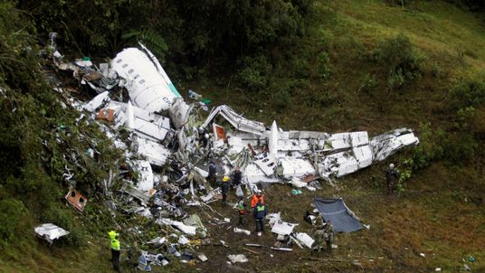 Wreckage from the plane that crashed into the Colombian jungle