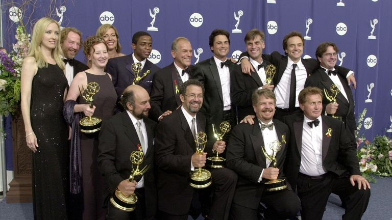 The cast and crew of The West Wing at the 2000 Primetime Emmy Awards