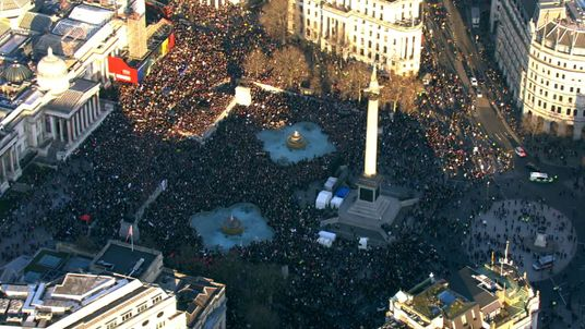 Thousands protest against Trump presidency in central London.