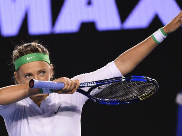 Victoria Azarenka dabbing after her victory at the 2016 Australian Open tennis tournament