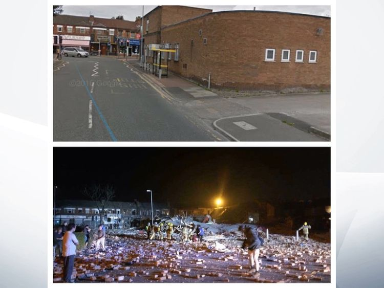 Before and after the explosion on the Wirral. Pic: @stemac2010