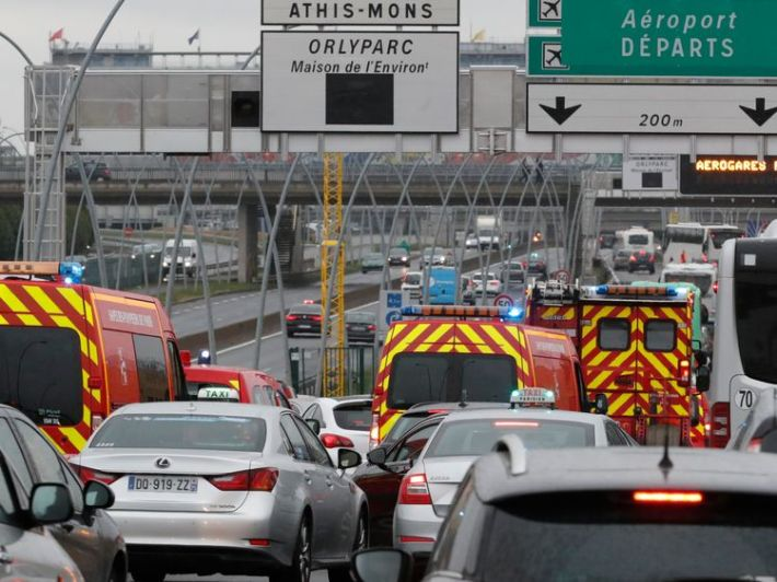 Emergency vehicles at Orly airport's southern terminal in Paris