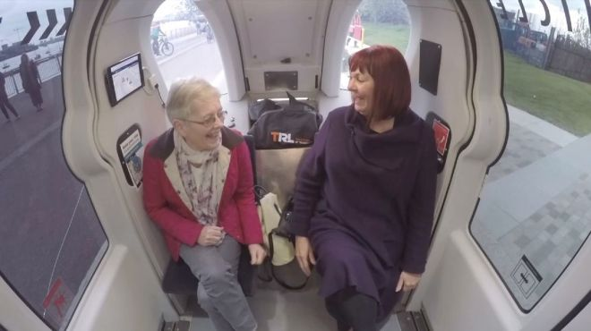 Joe Tidy's mum Karen Parker-Tidy (right) with her friend Gwenfair Bayliss in a driverless car