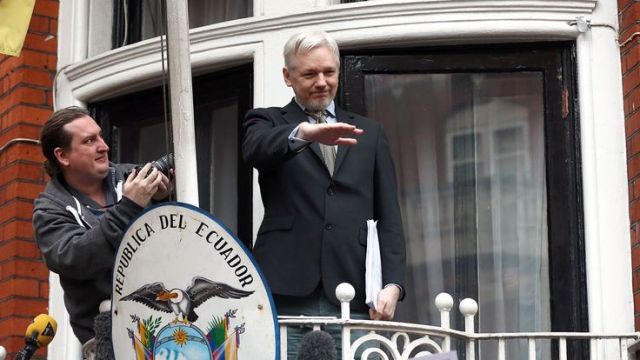 WikiLeaks founder Julian Assange at the balcony of the Ecuadorian Embassy in February 2016
