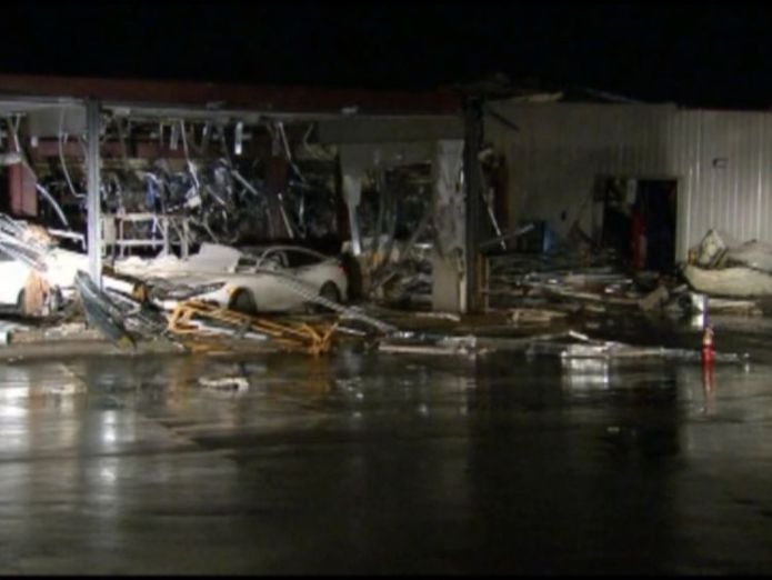 Damage after the tornado in the Texas city of Canton. Pic: Fox