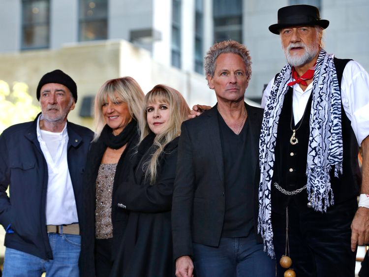 Members of the rock band Fleetwood Mac after a concert in New York