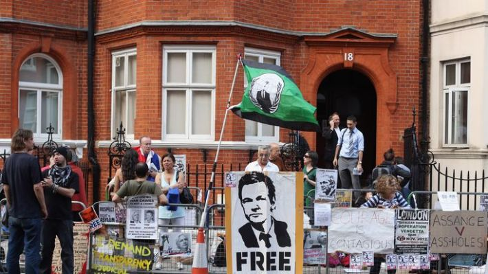 Supporters outside the Knightsbridge embassy in August 2012