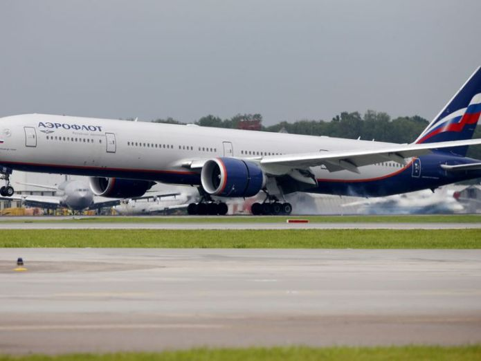 A file photo of an Aeroflot Boeing 777 at Moscow International Airport