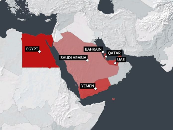 Map of the countries isolating Qatar