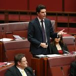 CANBERRA, AUSTRALIA - JULY 07: Senator Scott Ludlam speaks to his nomination for President of the Senate on July 7, 2014 in Canberra, Australia. Twelve Senators will be sworn in today, with the repeal of the carbon tax expected to be first on the agenda. (Photo by Stefan Postles/Getty Images)