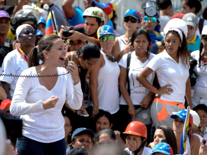 Venezuelan opposition Maria Corina Machado at a protest march in May