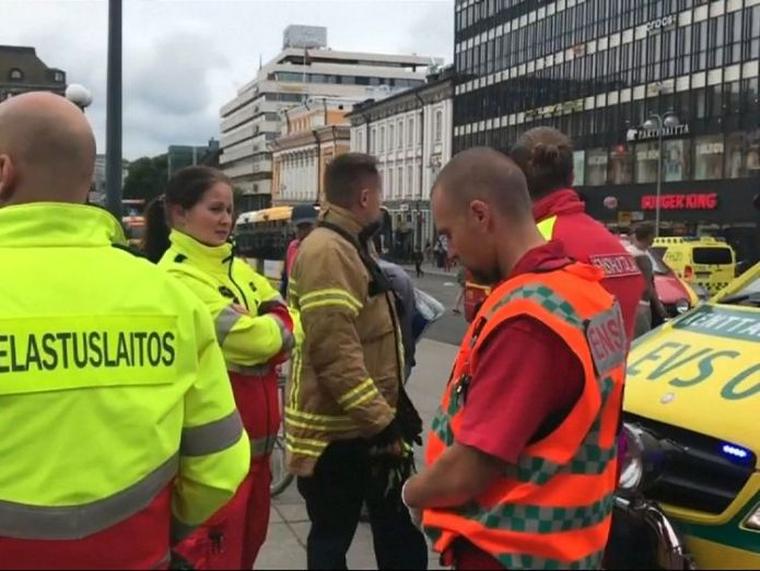 Emergency service workers at the scene of a stabbing in Finland Two dead and six injured in Finland knife attack Two dead and six injured in Finland knife attack 4ccb9e532f28f7e1d06e046668217c55318f7b089ad75bda9304ddf6f24cca58 4076854