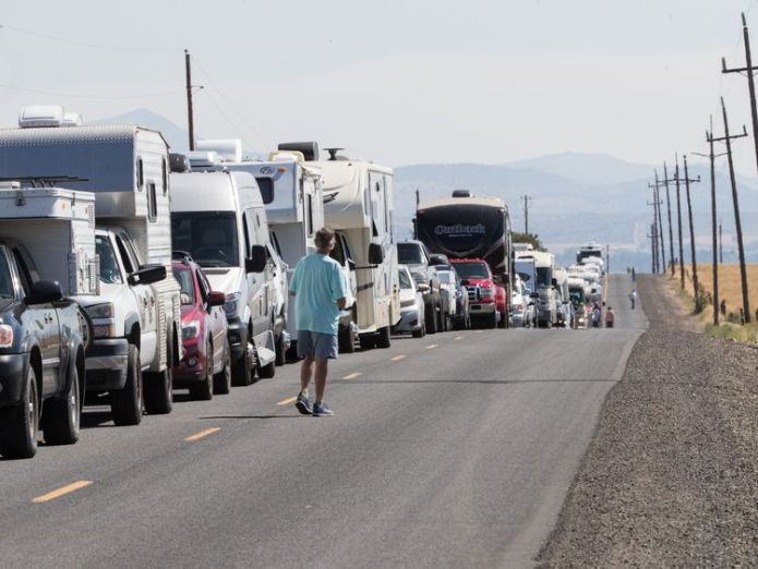 RV traffic sits at a standstill along a two-lane road near Madras, Oregon, August 17, 2017. The rural central and eastern part of Oregon is hosting dozens of festivals to help manage the crowds -- a million visitors are expected to the region for the Monday August 21, 2017, natural phenomena US eclipse expected to draw crowd of millions US eclipse expected to draw crowd of millions be0ab1a098e3f073a493d78508863a5eec61b4243dc9143e27e18510c460af4a 4077146