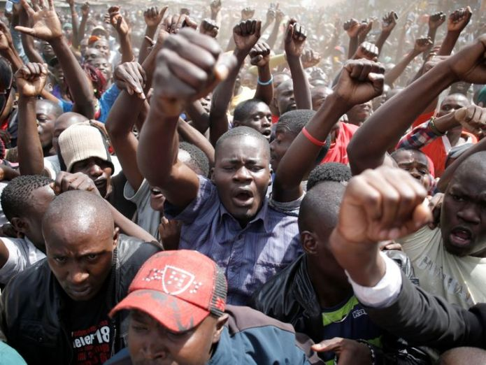 Supporters of Raila Odinga shout during a rally in Nairobi's Kibera slum Kenyan opposition leader Odinga vows: 'We're not done yet' Kenyan opposition leader Odinga vows: 'We're not done yet' c76a53a8df9eeb435ec7404f83da8523fe2fc6f66bca5aafbcc82dc979ac8cce 4072761