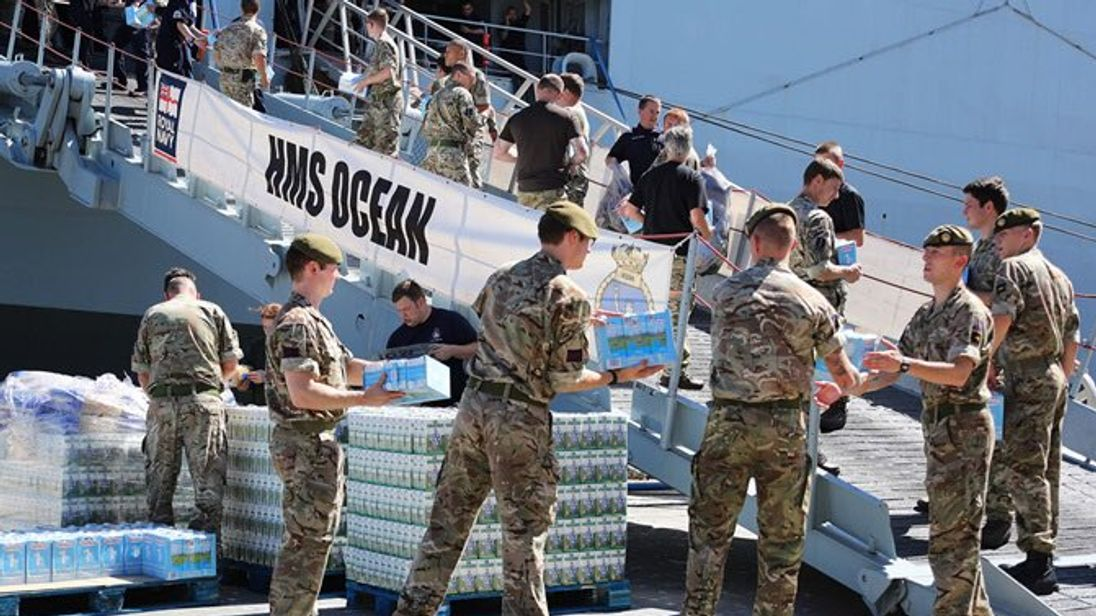 HMS Ocean brings 60 tonnes of aid to Caribbean after ...