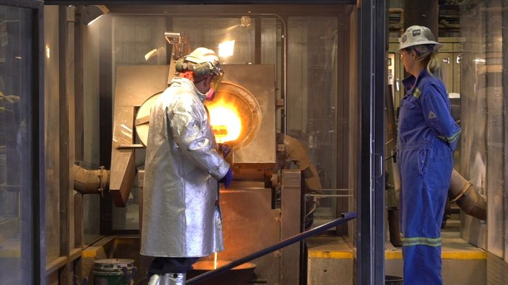 After being heated up to 1,000 degrees, the gold is poured into moulds