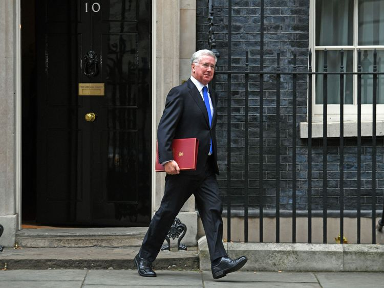 Defence Secretary Sir Michael Fallon leaving Downing Street after a Cabinet meeting