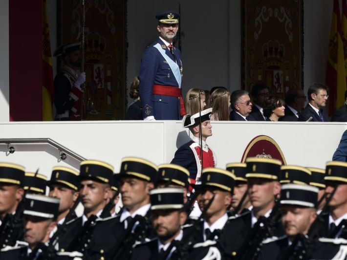 King Felipe IV during the Spanish National Day military parade