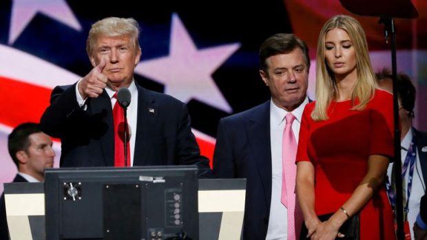 Donald Trump, Paul Manafort and Ivanka Trump in 2016