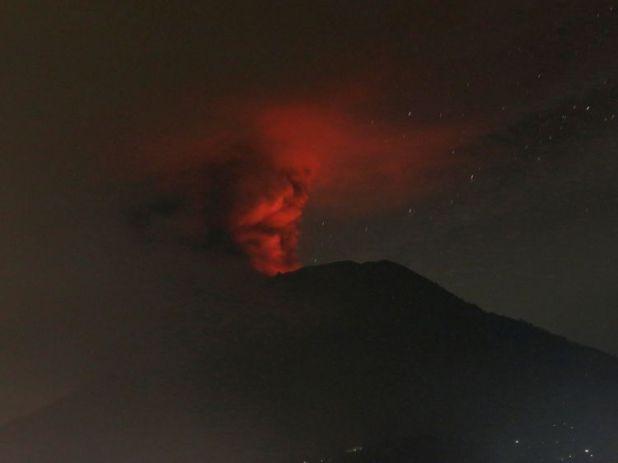 Mount Agung volcano is seen erupting from Glumpang village, Karangasem, Bali, Indonesia