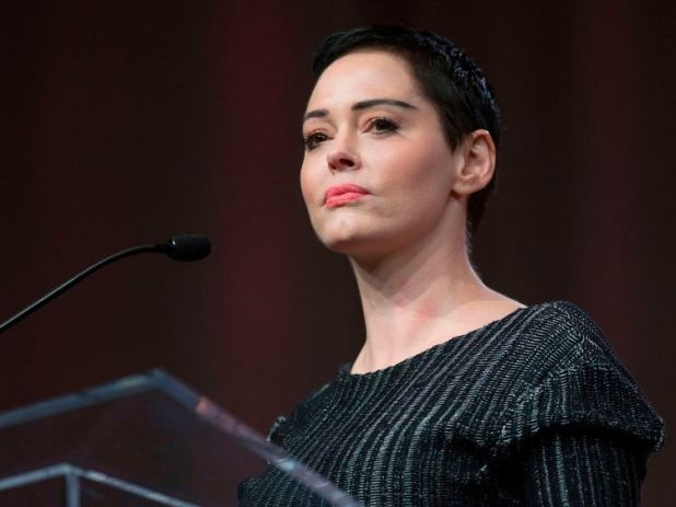 Rose McGowan speaking out against Harvey Weinstein after her interview broke the story.