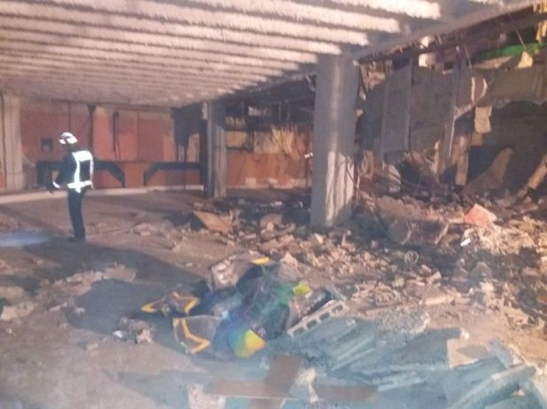 The scene in the basement after the nightclub floor collapse