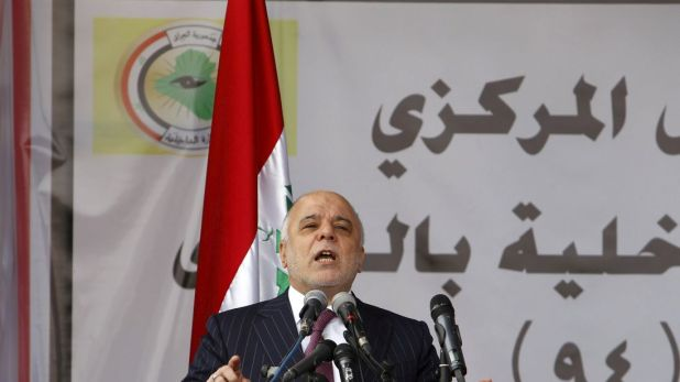 Iraqi Prime Minister Haider al-Abadi speaks during the Iraqi Police Day at a police academy in Baghdad January 9, 2016