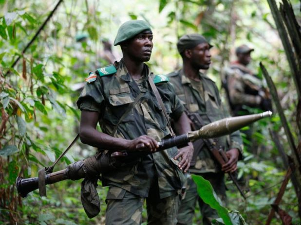 Congolese soldiers search for ADF fighters near Beni, Kivu province. File pic
