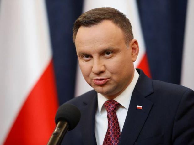 Poland's President Andrzej Duda speaks about the European Commission's decision to launch Article 7