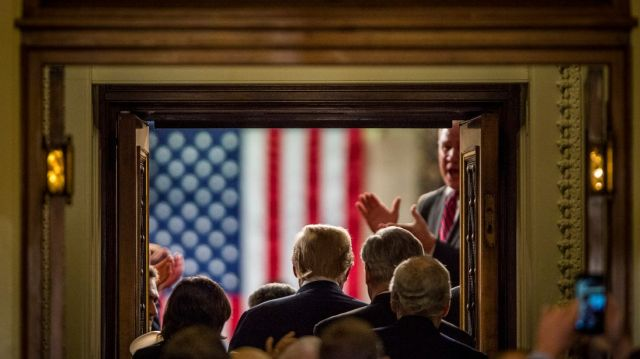 WASHINGTON, DC - January 30:  President Donald Trump enters the House of Representatives Chamber to deliver his first State of the Union Address before a joint session of Congress on January 30, 2018 in Washington, DC.  (Photo by Pete Marovich/Getty Images)
