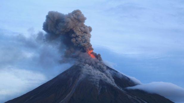 Lava is tumbling down the sides of Mount Mayon