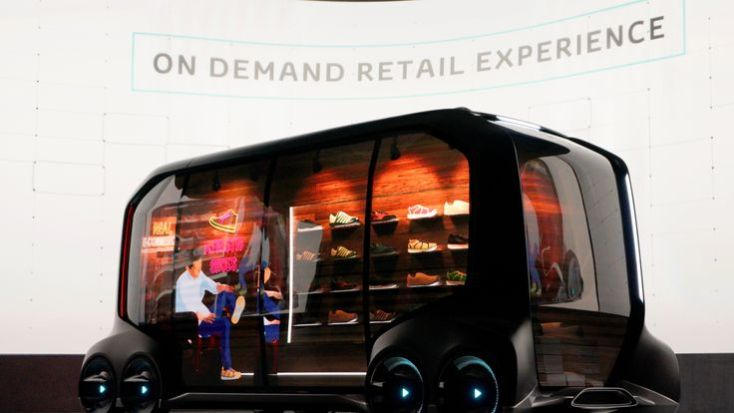 """Toyota displays the """"e-Pallete"""", a new fully self-driving electric concept vehicle designed to be used for ride hailing, parcel delivery services and other uses"""