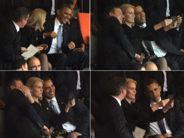 This combo of pictures shows US President Barack Obama (R) and British Prime Minister David Cameron (L) posing for a selfie photo with Denmark's Prime Minister Helle Thorning Schmidt (C) during the memorial service of South African former president Nelson Mandela at the FNB Stadium (Soccer City) in Johannesburg on December 10, 2013.