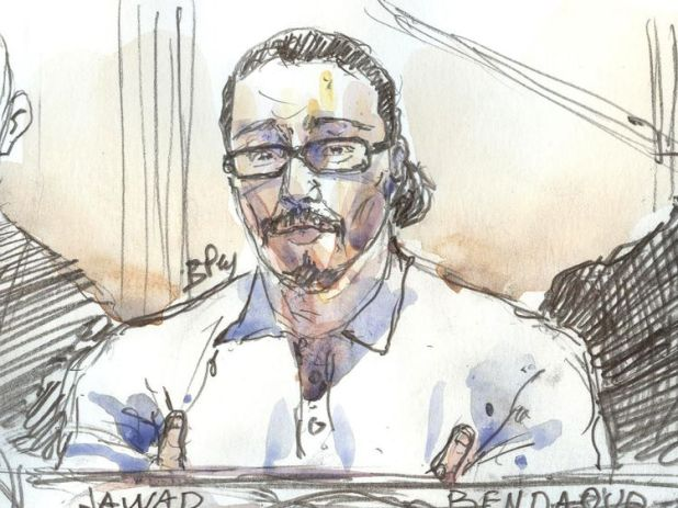This courtroom sketch created at the palais de Justice court in Paris on January 24, 2018 shows Jawad Bendaoud in the dock, accused of harbouring two of the jihadists in the aftermath of the November 2015 Paris attacks. The first trial stemming from the November 2015 Paris terror attacks opened with suspect Jawad Bendaoud in the dock, accused of harbouring two of the jihadists in the aftermath of the carnage. / AFP PHOTO / Benoit PEYRUCQ (Photo credit should read BENOIT PEYRUCQ/AFP/Getty Images)