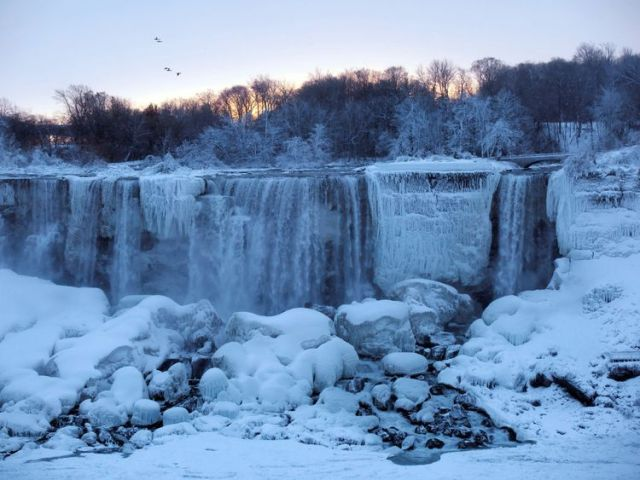 A group of birds fly past ice and water flowing over the American Falls, viewed from the Canadian side in Niagara Falls, Ontario, Canada, January 3, 2018