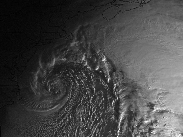 The bomb cyclone as seen from space as America woke up this morning. Imagery: NOAA GOES-16