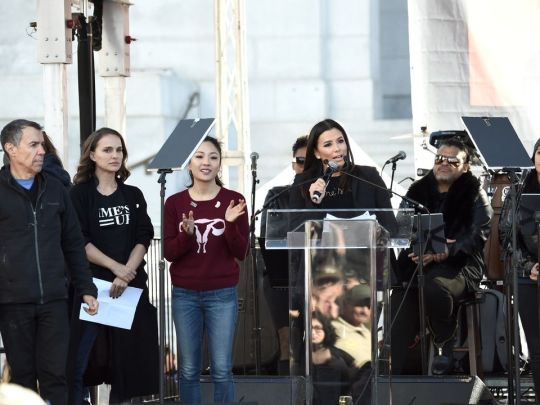 Eva Longoria speaks onstage at 2018 Women's March Los Angeles at Pershing Square on January 20, 2018 in Los Angeles, California. (Photo by Amanda Edwards/Getty Images for The Women's March Los Angeles