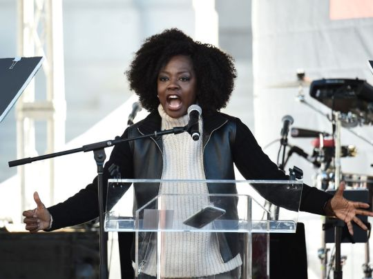 LOS ANGELES, CA - JANUARY 20: Viola Davis speaks onstage at 2018 Women's March Los Angeles at Pershing Square on January 20, 2018 in Los Angeles, California. (Photo by Amanda Edwards/Getty Images for The Women's March Los Angeles)
